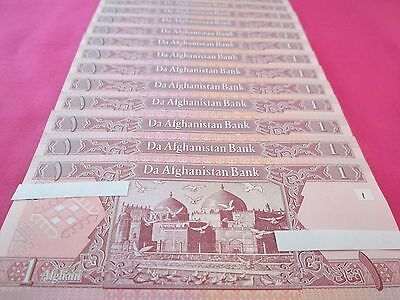 Afghanistan Paper Money Currency Banknotes 10 PCS Uncirculated 1 Afghani Each
