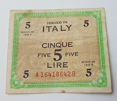 Vintage - Italy - 5 Lire - Banknote - Dated 1943 A - Paper Money Bank Note