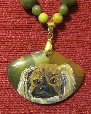 Tibetan Spaniel hand painted on a wedge shaped Onyx Agate pendant/bead/necklace