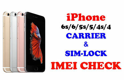 Fast iPhone 7 6s 6 5s 5 4s 4 IMEI check Country Network Carrier & SimLock Status