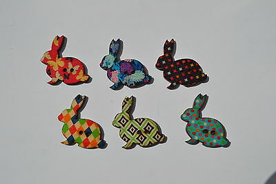Rabbit Buttons X 6 Scrapbooking Embellishment Fabric Sewing Craft Vintage Retro