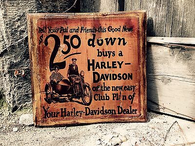 Vintage Harley Davidson J JD Motorcycle Wooden Picture Wall Decor Home Decor