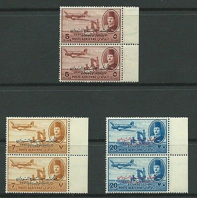 Stamps Egypt 1952 Overprints Sg394/5/8 In Pairs.  Mnh