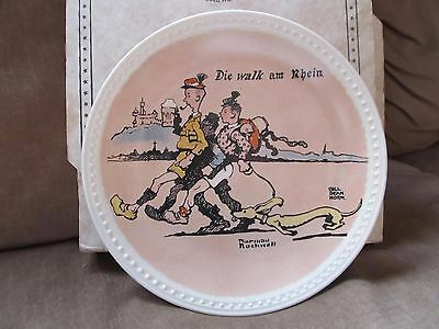 "Vintage Norman Rockwell~Newell Pottery~""Die Walk Am Rhein"" Plate~Title & Box"