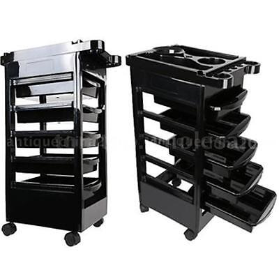 5 Drawers Rolling Salon Trolley Cart Beauty Spa Hairdressing Storage Station D8Z
