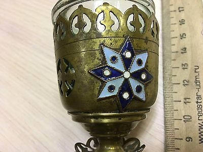 Antique 19c Russian Orthodox icon-lamp with enamels