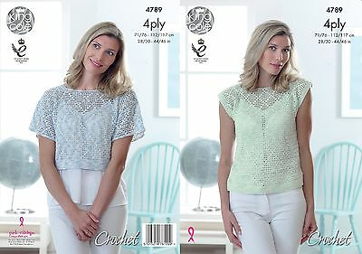 KINGCOLE 4789 Ladies 4ply Crochet Top PATTERN 28-46IN -not the finished garments