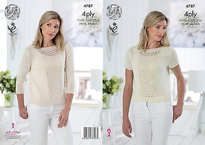 KINGCOLE 4787 Ladies 4ply KNITTING PATTERN 28-46IN -not the finished garments