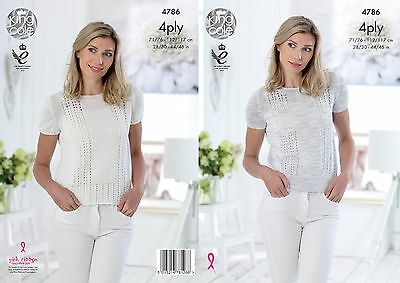 KINGCOLE 4786 Ladies 4ply KNITTING PATTERN 28-46IN -not the finished garments