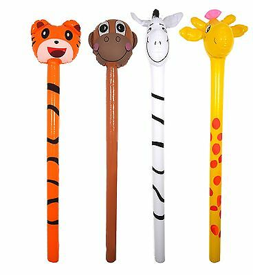 10x Inflatable Jungle Animal Sticks 118cm Assorted Designs