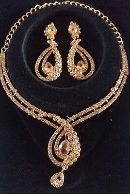Bollywood Style Indian Costume Jewellery Necklace Set Bronze Gold