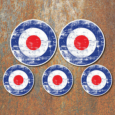 SCOOTER MOD RAF ROUNDEL AGED GRUNGE LOOK Laminated Sticker Set vespa Retro