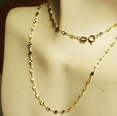 Beautiful 14k solid yellow gold 24 inches long star link very sparkly chain