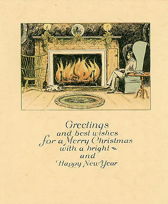 """Vintage Single Panel Christmas Card """"greetings And Best Wishes"""""""
