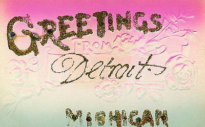 Greetings From Detroit Michigan With Glitter Embossed  Postcard