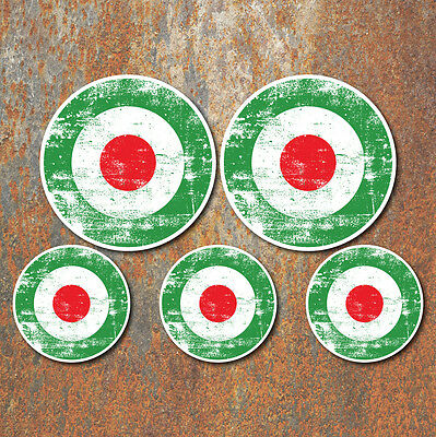 SCOOTER MOD ITALY ROUNDEL AGED GRUNGE LOOK Laminated Sticker Set vespa Retro