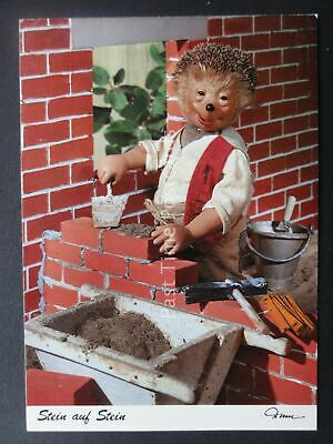 Mecki Hedgehog BRICK LAYING BUILDER c1970/80's Postcard by Diehl Film 490