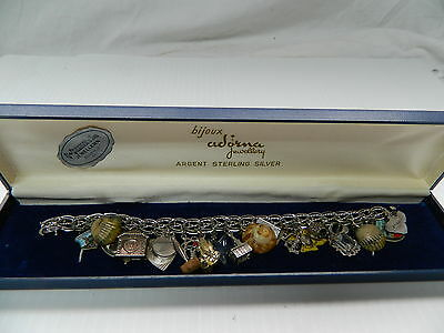 Vintage Argent Sterling Silver Charm Bracelet With Hawaiian Charms