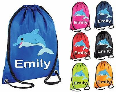 Personalised Dolphin Gym Bag Swim Nursery Drawstring School PE Kit Sports Kids