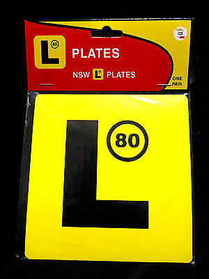 N.S.W YELLOW L LEARNER PLATES 80 SPEED LIMIT PLASTIC 2 PLATES Suction Cups Caps
