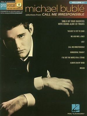 Pro-Vocal Mens Edition Michael Buble Call Me Irresponsible Sing Music Book & CD