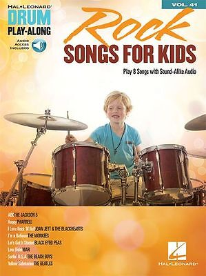 Drum PlayAlong Rock Songs For Kids Learn to Play DRUMMER Music Book/Online Audio