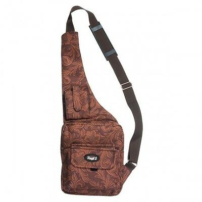 Tough 1 Brown Tooled Leather Pattern Tablet Carrier Crossbody Bag equine 61-12