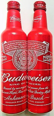 Budweiser 2014 red alum beer can bottle 16 oz CaBottle 502463 with twist-off cap