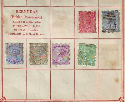 BERMUDA: SG11, QV one shilling Cat. £120 ? + 6d + Album Page Used