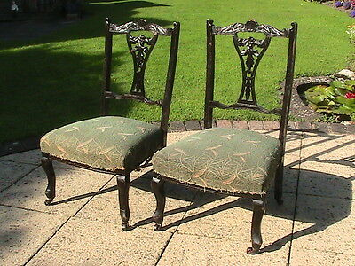 Pair Of Antique Victorian Carved Mahogany Finish Bedroom Chairs For Restoration