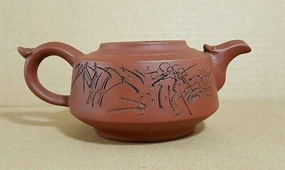 Yixing Teapot w Writing Bamboo Floral Design on Body No Lid