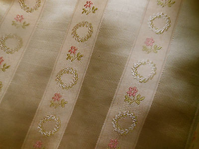 Antique Vtg French Floral Wreath Lisere Brocade Fabric~ Soft Gold Pink Green