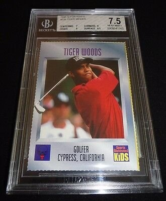 1996 Sports Illustrated SI For Kids Tiger Woods Rookie Card RC BGS 7.5 NM+