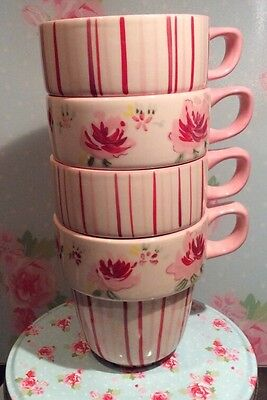 Marks And Spencers Pretty Pink Rose Stackable Mugs X4
