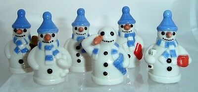 Wade Whimsies Snowman Full Set In Blue Hat So Nice Discontinued *mint*