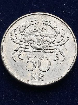 Iceland 50 Kronur 2001 Crab Km# 31 Xf+ Very Rare World Coin