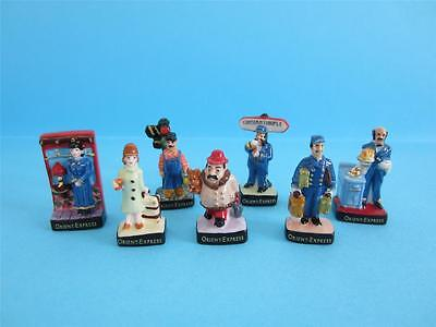 TheRARE MINIATURE 12 PORCELAIN,THE ORIENT EXPRESS TRAIN/HERCULE POIROT FIGURINE