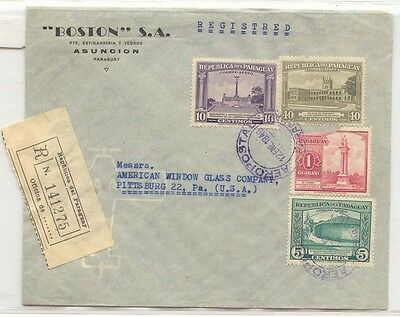 Paraguay 1946 registered mail to US (lettre cover)