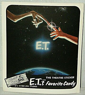 3 x E.T. Extra Terrestrial REESE'S PIECES CANDY Theatre Promotional Sticker ET