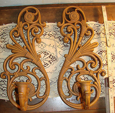 Vintage 1978 HOMCO Pair Wall Candle Sconce Plastic Rattan Wicker Look