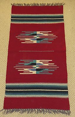 Vintage Chimayo Southwest Hand Woven Red Wool Blanket