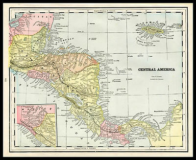 CENTRAL AMERICA Costa Rica Nicaragua 1892 antique color lithograph Map