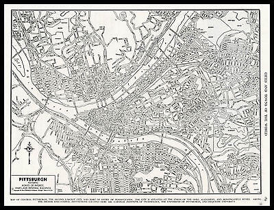 City of PITTSBURGH Pennsylvania 1945 antique detailed view Plan Map