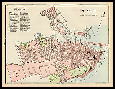 City of QUEBEC Canada St. Lawrence 1901 antique color lithograph Plan Map