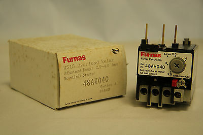 Furnas 48AH040 Overload Relay US 15 Range 2.5-4.0 Amps for Starter New in Box