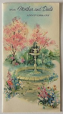 Glittered Pink Trees Around Fountain Anniversary  VTG Greeting Card