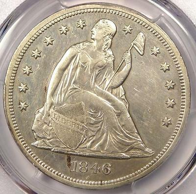 1846 Seated Liberty Silver Dollar $1 - PCGS AU Details - Rare Early Date Coin!