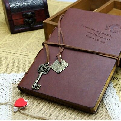 Brown Retro Pu Leather Vintage Journal Blank Diary Travel NoteBook Gift UK