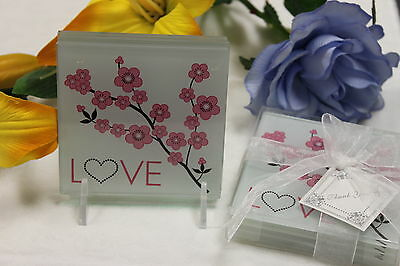 Wedding Favours Coaster Cherry Blossom 25pks-100ps included, packaged in fours