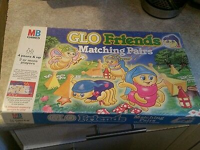 Rare Vintage Milton Bradley Glo Friend Glo Bug Worm Matching Pairs Game Complete